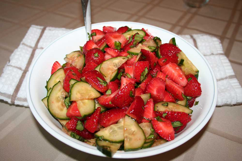 August Recipe: Strawberry, Cucumber, & Basil Salad